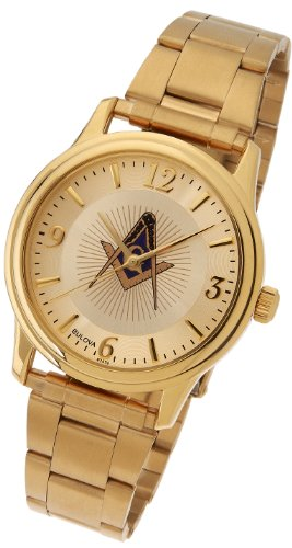 US Jewels And Gems Men's Bulova Caravelle Gold Plated Masonic Blue Lodge Watch
