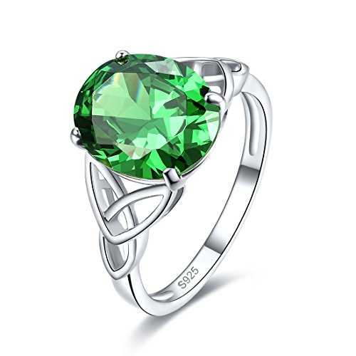 (Merthus Womens 925 Sterling Silver Created Emerald Celtic Knot Ring)