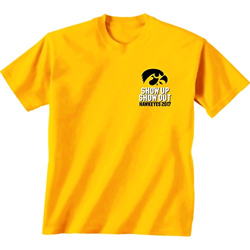 - New World Graphics NCAA Iowa Hawkeyes Football Schedule 2017 Short Sleeve Shirt, Medium, Gold