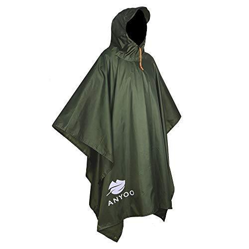 (Anyoo Waterproof Military Rain Poncho Lightweight Reusable Hiking Rain Coat Jacket with Hood for Boys Men Women Adults)