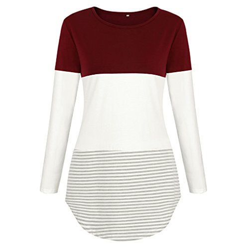 Automne Manches Masterein Longues du T Fille Femmes Rayures Tops col Splicing vin Rond Casual Shirt qwPAH