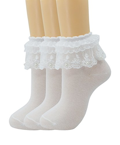 Women Lace Ruffle Frilly Ankle Socks Fashion Ladies Girl Princess H06 (3 pairs-Milk white) (Frilly Princess Dress)