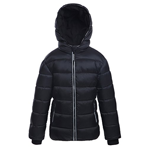 Rokka&Rolla Boys' Heavy Padded Water-Resistant Hooded Thickened Quilted Puffer Jacket,L/G (10-12),Very Black