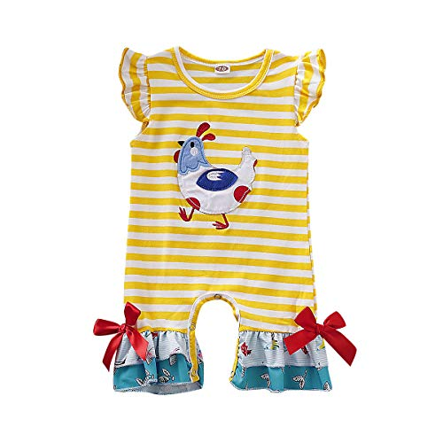 Siblings Brother Sister Matching Outfits 1PC Stripe Short Sleeve Romper Jumpsuit Dress T-Shirt for Newborn Toddler Baby Boys and Girls (Yellow Baby Girl Romper, 0-3 Months)]()