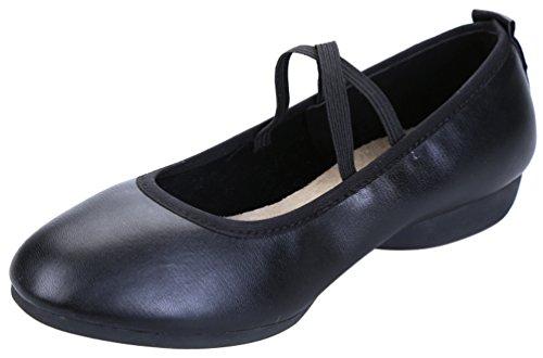 Abby 885-3 Womens Charming Snug Chiuso Toe Mary Jane Tacco Piatto Traspirante Moderno Quadrato Scarpe Da Ballo Nero (elastico)