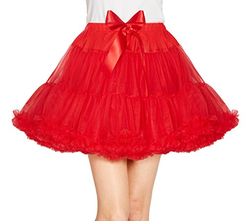 Urban CoCo Women's Petticoat Fancy Tutu Skirt Ballet Crinoline Underskirt (L, Red) - Petticoat Tutu