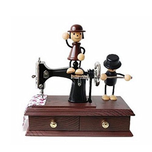 Neal LINK(TM) Musical Wind up Vintage Miniature Oak Mini Sewing Machine Style Mechanical Plastic Music Box Vintage Look Table Desk Decoration Toy Gift for Kid Children Birthday Gift (1) - $12.69