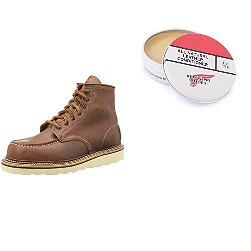 "Red Wing Heritage 1907 Moc 6"" Boot and Leather Conditioner, Copper Rough and Tough,9.5 D (M)"