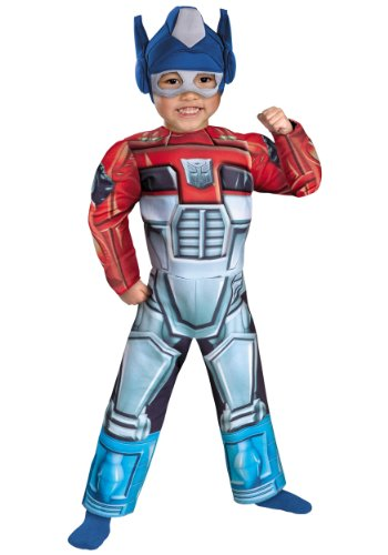 Optimus Prime Rescue Bot Toddler Muscle Costume, Red/Blue,