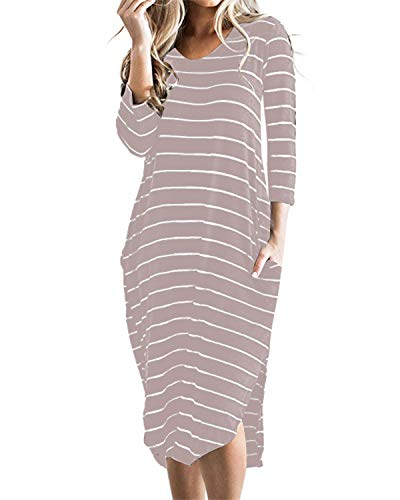 CNFIO Women T Shirt Dress Oversized Stripes 3/4 Short Sleeves Dresses with Pocket Pink XX-Large
