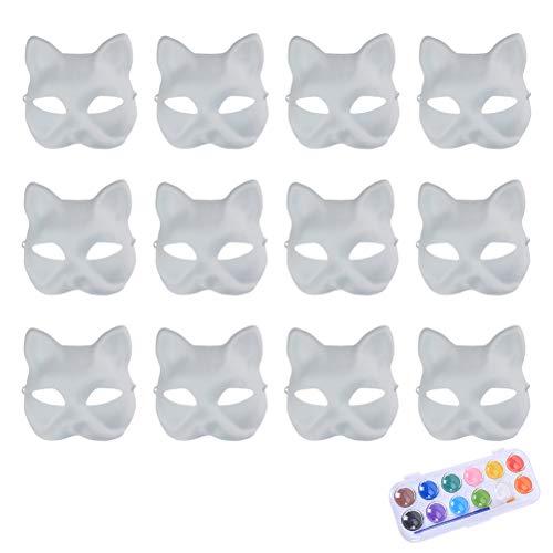 Vankcp White Mask,12Pcs Halloween Mask White DIY Mask
