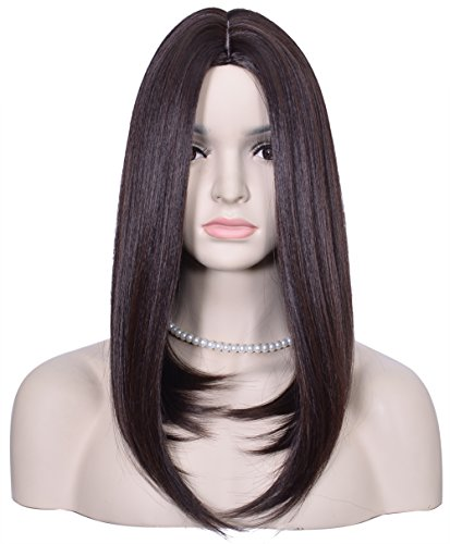 Diforbeauty Women Centre Parting Medium Long Straight Heat Resistant Synthetic Hair Wig for Daily Use Cosplay (4-30 Reddish (2)