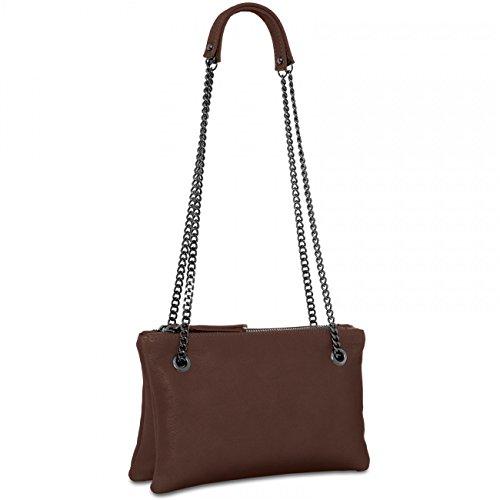 CASPAR Damen Ledertasche / Umhängetasche / Doppeltasche - mit zwei Fächern aus superweichem italienischen Nappa Leder - viele Farben - TL704, Farbe:schwarz CASPAR Fashion