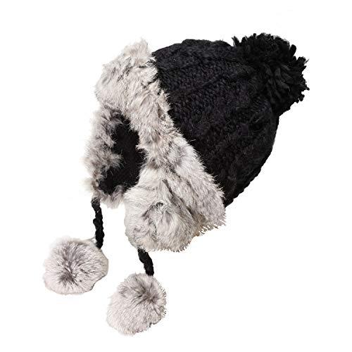 Mujer Doble Home Sombrero Cálido Punto Gruesa Black Qinch Otoño De White Lindo Invierno E Y Los color Oídos Protección Lana Para Yq7z7d