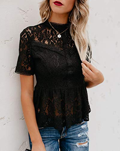 - Tobrief Womens Sexy Hollow Out Lace Blouse Short Sleeve Peplum Top Black XL