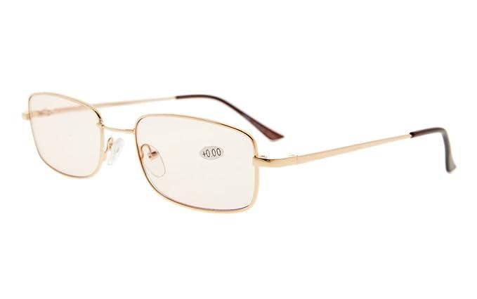 21ac1915b6a228 Eyekepper Lunettes d ordinateur Lunette de vue metalique - Titane pont  souple lunette de lecture pour homme femme (verre ambre)+1.50  Amazon.fr   Hygiène et ...