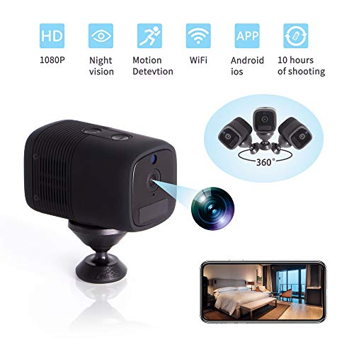 ATHORS Hidden Camera Wireless,10-Hour Battery Life Portable Mini Spy Camera,WiFi 1080P Nanny Cams with Cell Phone App-Day/Night Vision Security for Home Office Cars