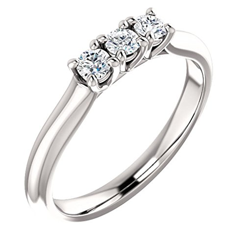 - Three Stone Diamond Engagement Ring 14k White Gold 3/4ct. TDW
