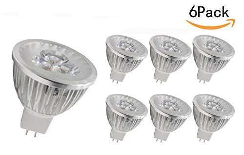 JKLcom MR16 LED Light Bulbs 6 Pack,MR16 Base 12V 3W Cool White LED Bulbs Spotlight Bulbs for Landscape Recessed lighting,20 W Equivalent