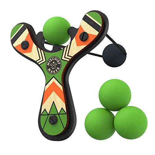 Mighty Fun! Mischief Maker Wooden Toy Slingshot Real Wood and Soft Foam Balls (Green - Mischief Makers