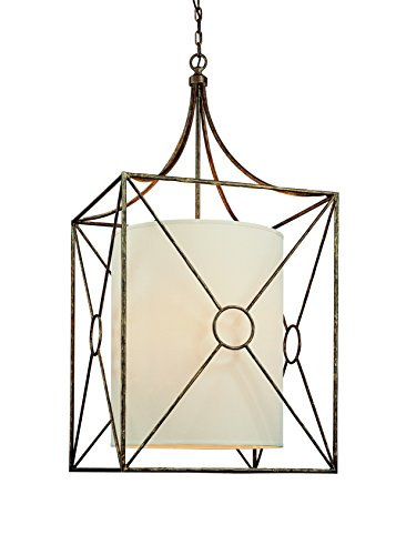 Troy Lighting Maidstone 6-Light Pendant - Bronze Leaf Finish with Beige Linen Hardback Shade