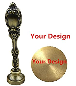 MNYR Rose Gold Customized Your Design Personalized Picture Logo Letters Monogram Text Wax Seal Sealing Stamp Vintage Peacock Copper Handle Set