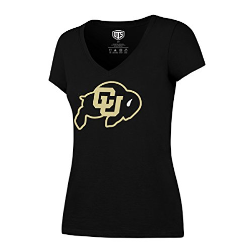 Colorado Buffaloes T-shirt (NCAA Colorado Buffaloes Women's OTS Rival V-Neck Tee, Jet Black, Large)