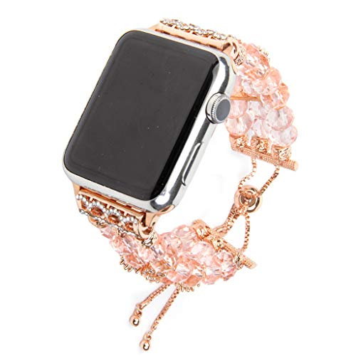 - Sodoop Band Compatible for Apple Watch 42mm 44mm, Luxury Bling Crystal Bracelet Handmade Rhinestone Beaded Replacement Wristband Jewelry for iWatch Series 4 3 2 1,Women &Girl