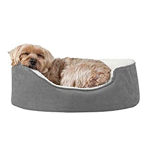 Furhaven Pet – Plush Faux Fur Calming Anti-Anxiety Donut Bed, Beanbag Style Ball Bed, Self-Warming Hi Lo Cuddler Dog Bed…