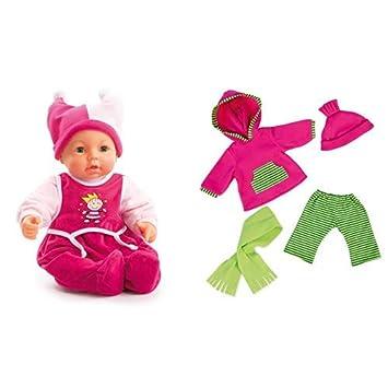 Bayer Design 9468200 - Funktionspuppe Hello Baby, 46 cm &  Design 84664 - Puppenkleidung, 46 cm
