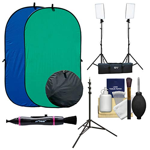 (RPS Studio 4x7 Chroma Key Blue/Green Screen Reversible Twist-Fold Background with 2 LED Video Light Panels & Light Stands + Kit)