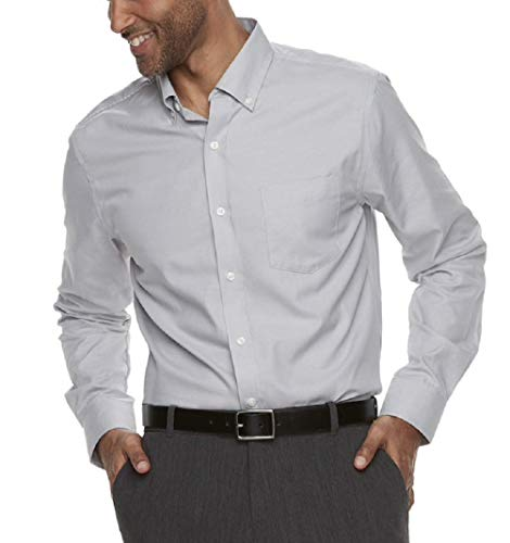 (Croft & Barrow Men's Classic-Fit Easy-Care Button-Down Shirt (Medium, Silver Nickel))