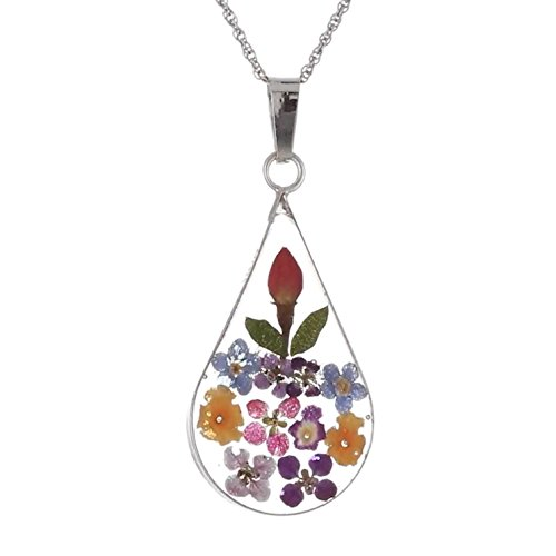 Handmade Silver Multi-Colored Pressed Flower Teardrop Pendant Necklace, 18