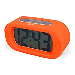 Slash Easy Setting Easy Read Silicone Protective Cover Digital Silent LCD Large Screen Bold Numbers Bedside Desk Alarm Clock with Snooze, Night Light Function, Battery Powered (Orange) S10110