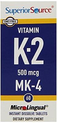 Superior Source Vitamin K2 MK4 Tablets, 500 mcg, 60 Count