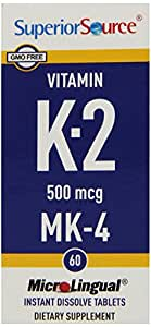 Superior Source Vitamin K2 MK4 Tablets, 500 mcg, 60 Count