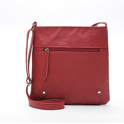 Crossbody Leather,Clearance! AgrinTol Fashion Womens Leather Satchel Shoulder Messenger Bag Handbag (Red)