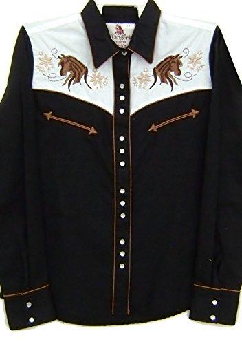 Modestone Women's Embroidered Horse Head Western Hemd Rhinestones Black