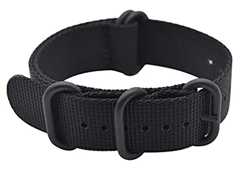ArtStyle Watch Band with Thick Nylon Material Strap and High-End Black Buckle (Matte Finish) (Black, (Watch Strap Ring)
