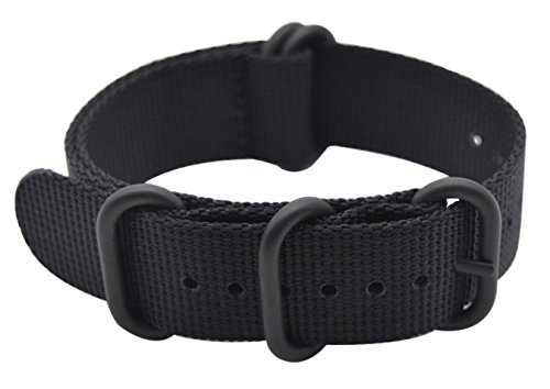 ArtStyle Watch Band with Thick Nylon Material Strap and High-End Black Buckle (Matte Finish) (Black, 22mm)