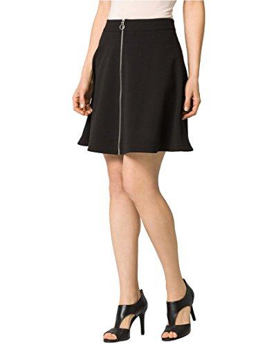 - LE CHÂTEAU Women's Crêpe Front-Zip Mini Skirt,8,Black