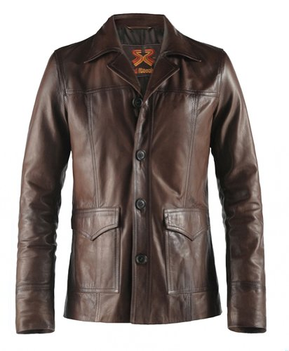 Soul Revolver Hitman Fight Club Style Leather Jacket - Brown - L