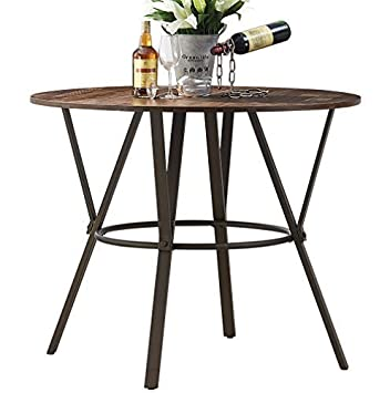 "8e29ea050b O&K Furniture 42"" W Industrial Round Dining Table, Wooden Top with  Sturdy"