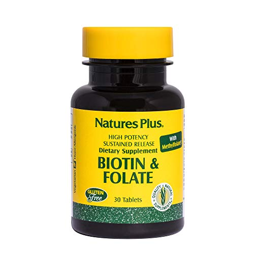 Tablets Acid 30 Folic (Natures Plus Biotin and Folic Acid (Methylfolate) - 30 Vegetarian Tablets - Vitamin B7 and Vitamin B9 Supplement, Supports Hair Growth, Energy Booster, Prenatal Vitamin - Gluten Free - 30 Servings)