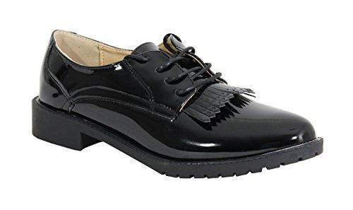 Sintético mujer cordones de negro Material para By Zapatos Shoes de 8wIaAY
