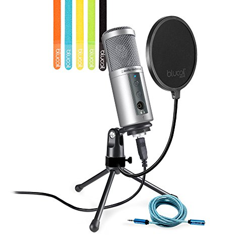 Pattern Large Diaphragm Tube Condenser - Audio-Technica ATR2500-USB Cardioid Condenser USB Microphone -INCLUDES- Blucoil Pop Filter, 6-ft Headphone Extender, AND 5 Pack Cable Ties