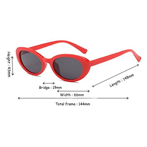 mujeres de gafas oval de Roja Aiweijia gafas y sol Gris retro de Fashion hombres sol moda Negro Caja qgwPIAf