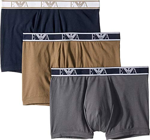 - Emporio Armani Men's Monogram 3-Pack Boxer Brief, Anthracite/Marine/Khaki Large