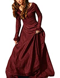 Womens Medieval Retro Crewneck Long Sleeve Solid Color Evening Prom Swing Maxi Dress