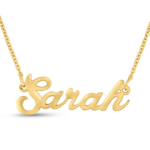 Gold Filled Name Necklace - Sarah Nameplate Necklace In Gold Tone